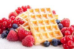 甜新鲜的鲜美奶蛋烘饼用混杂的果子  免版税库存图片
