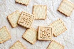 甜方形的曲奇饼背景 库存照片