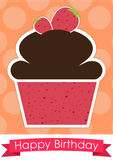 甜杯形蛋糕生日快乐卡片 免版税库存图片