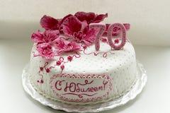 甜桃红色兰花白色周年蛋糕特写镜头 库存照片