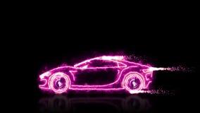 甜桃红色未来派用光束wireframes做的妇女超级汽车的抽象动画在黑色隔绝了未来派backgroun 皇族释放例证