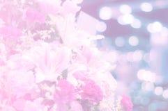甜桃红色花在背景的软的焦点 免版税库存照片