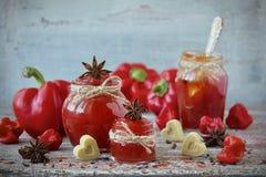 甜椒胡椒和辣椒在一个玻璃瓶子阻塞 免版税图库摄影