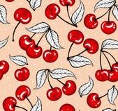 甜樱桃无缝的样式 库存图片