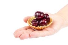 甜樱桃果子在女性手上 免版税库存图片