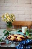 甜樱桃被填装的小圆面包 土气的样式 图库摄影