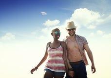 甜海滩暑假夫妇爱概念 库存照片