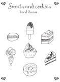 甜点和曲奇饼象,杯形蛋糕, macaron,冰淇凌, cheesecak 免版税库存图片