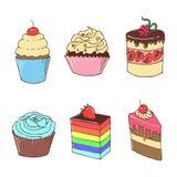 甜点和蛋糕,逗人喜爱的例证 库存例证