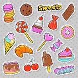 甜点和面包店乱画 糖果、冰淇凌和蛋白杏仁饼干徽章、补丁和贴纸 皇族释放例证
