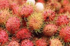 甜点在市场上结果实红毛丹 图库摄影