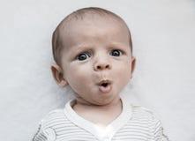 甜点惊奇的男婴画象  免版税图库摄影