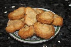 甜点棕榈,在小板材的可口点心 免版税图库摄影