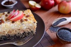 甜点烤了与罂粟种子、苹果和凝乳酪的面团 免版税库存图片