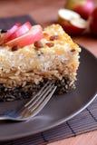甜点烤了与罂粟种子、苹果和凝乳酪的面团 库存图片