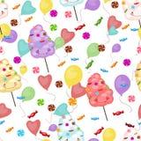 甜点的无缝的样式,棉花糖,棒棒糖 库存例证