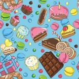 甜点的无缝的模式 免版税库存图片