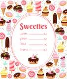 甜点菜单或价格表模板 库存例证