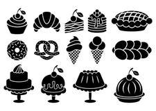 甜点被设置的被烘烤的食物剪影 免版税库存图片
