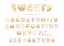 甜点面包店铅印设计 滑稽的拉丁纸保险开关字母表信件和数字由冰淇凌,巧克力,曲奇饼制成 向量例证