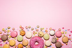 甜点,背景, Macaron 免版税库存照片
