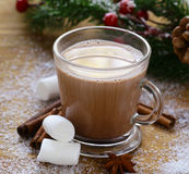 甜热的可可粉用蛋白软糖,圣诞节饮料 图库摄影