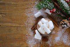 甜热的可可粉用蛋白软糖,圣诞节饮料 免版税库存照片