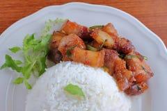 甜猪肉用在thaifood的米食物 免版税库存照片