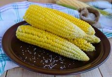 甜玉米煮沸的玉米棒在黏土板材的 免版税库存照片