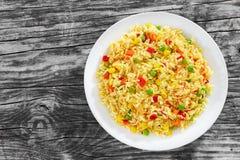 甜玉米,红色甜椒,绿豆可口健康Risot 免版税图库摄影