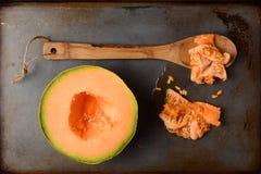 甜瓜一半和种子 库存照片