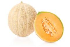 甜瓜瓜和部分关于白色 免版税库存照片