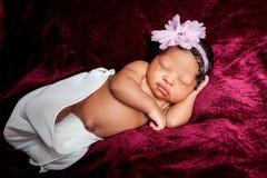 甜甜地睡觉的非裔美国人的新出生的女孩 免版税库存图片