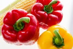 甜红色和黄色胡椒和玉米 库存照片