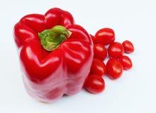 甜红辣椒和蕃茄 免版税图库摄影
