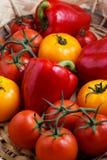 甜红辣椒和黄色蕃茄的构成 图库摄影