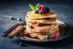 甜美国薄煎饼早餐早晨 库存照片