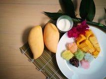 甜芒果用五颜六色的黏米饭和椰奶迅速移动 免版税库存照片