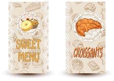 甜菜单和新月形面包 向量例证
