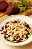 甜菜根和梨沙拉用乳酪Fitaki 库存图片