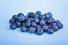 甜蓝莓堆在明亮的蓝色背景的 成熟和未加工的莓果特写镜头  夏天饮食的鲜美蓝莓 免版税库存照片
