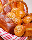 甜面包店产品接近的视图  库存图片