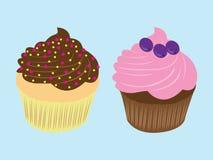 甜食物巧克力乳脂状的杯形蛋糕例证 库存例证