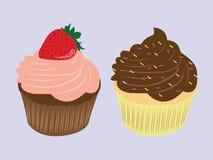 甜食物巧克力乳脂状的杯形蛋糕例证 向量例证
