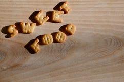 甜食物 可食的信件 库存图片