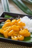 甜饺子用椰子[泰国's甜点] 免版税图库摄影