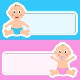 甜婴孩新出生与空白的横幅 皇族释放例证