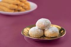 甜Eid ElFitr曲奇饼,回教一点假日传统甜点 图库摄影