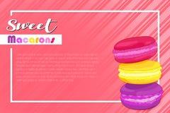 甜macarons导航横幅在珊瑚背景的字法例证与颜色macarons 库存例证
