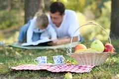 生与读圣经的小女儿在野餐 免版税图库摄影
